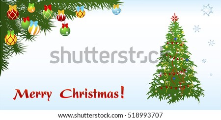 Card of horizontal format for Christmas and New year