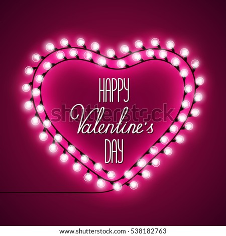 card valentines day garland with lights arranged in a heart and lettering on a pink