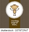 Card with cute monkey, vector illustration - stock vector
