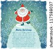 Card with merry Santa Claus on hill. Christmas landscape with snowfall. Blue vintage background. Vector Illustration. - stock vector