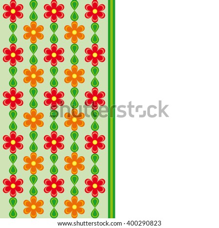 Card with red and orange flowers and green leaves spring effect