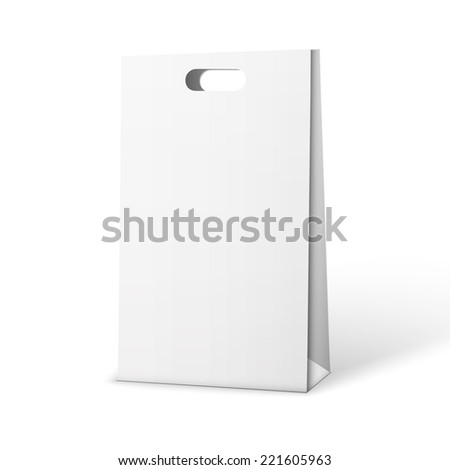 Carrier Paper Bag White. Illustration Isolated On White Background.