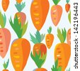 Carrot seamless funny pattern - cartoon design - stock vector