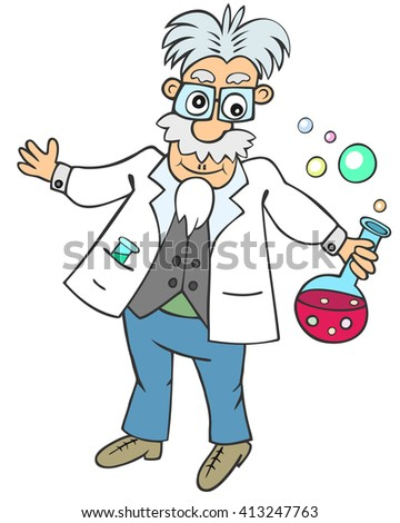 Cartoon aged man holding round flask with pink bubbling liquid