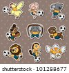 cartoon animal soccer player stickers - stock vector