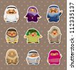 cartoon Arabian people stickers - stock photo