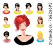Cartoon avatar various girls faces - one of a series of similar images woman collection - stock vector