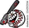 Cartoon Baseball Ball Face Holding Baseball Bat Illustration Vector - stock vector