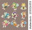 cartoon bee boy stickers - stock photo
