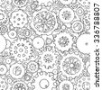 Cartoon black and white seamless pattern with doodle gears. Can be used for wallpaper, web page background, surface textures. Hand drawn mechanical vector illustration with collection of cogs. - stock vector