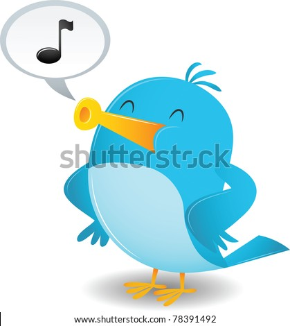 Cute cartoon birds singing cartoon blue bird sing stock