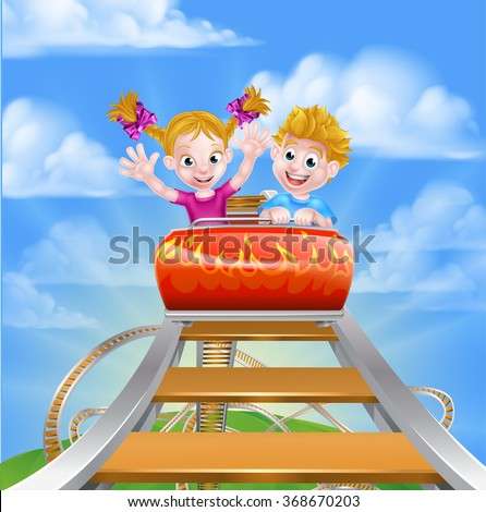 Cartoon boy and girl children riding on a roller coaster ride at a theme park or amusement park