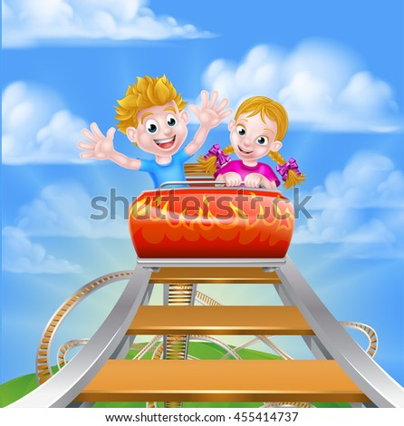 Cartoon boy and girl kids riding on a roller coaster ride at a theme or amusement park