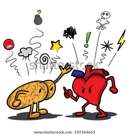 Cartoon brain and heart arguing and saying swear symbols at each other.