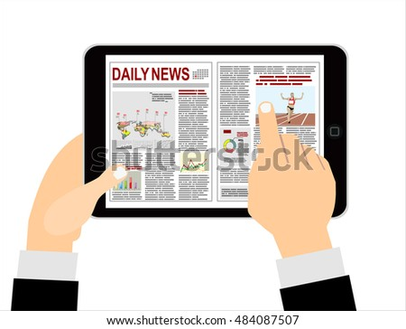 Cartoon businessman clicks on the newspaper on a tablet computer. Top view. Vector illustration in flat design