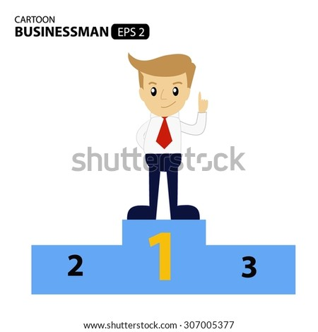 cartoon businessman. concept business are number one.