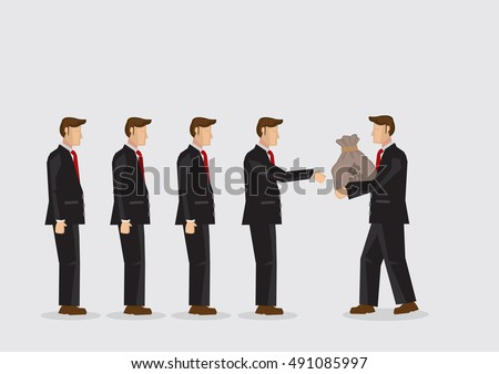 Cartoon businessman passing money bag to other businessmen standing in a line. Vector illustration on economic concept of wealth asset circulation isolated on plain background.