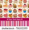 cartoon cake card - stock vector