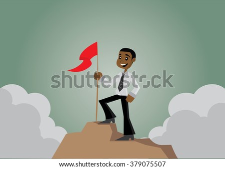 Cartoon character, African businessman with flag on the Mountain., vector eps10