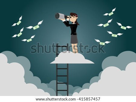 Cartoon character, Business women get a good view. After ascending the stairs., vector eps10