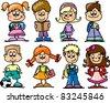 cartoon children, students - stock vector