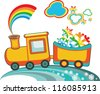 Cartoon Christmas train with rainbow snow,vector - stock vector