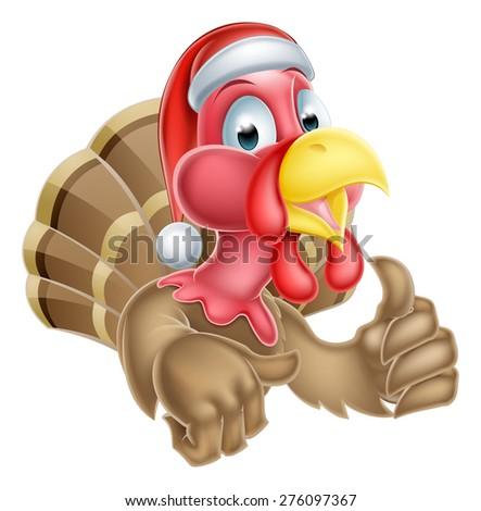 Santa Hat Thanksgiving Christmas Cartoon Turkey Stock Vector ...