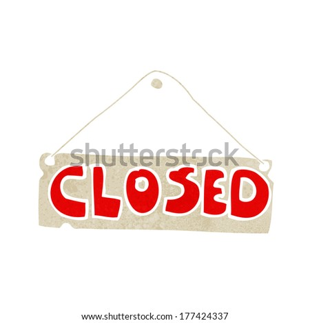 cartoon closed shop sign