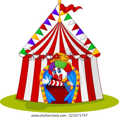 Cartoon clown waving hand in the circus tent
