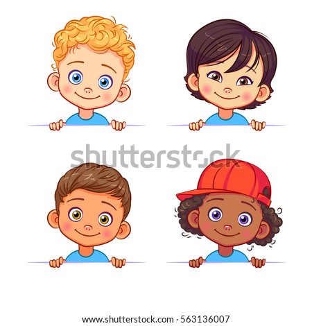 cartoon collection of little boys portraits various human races vector children characters of different - Toddler Cartoon Characters