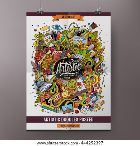 Cartoon colorful hand drawn doodles Art poster template. Very detailed, with lots of objects illustration. Funny vector artwork. Corporate identity design.