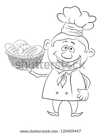 Cartoon cook - chef with a basket of bread, black contour on white background. Vector illustration