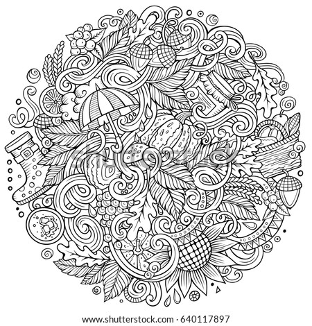 Hand drawn zentangle flowers leaves adult stock vector for Coloring pages with lots of detail