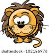 Cartoon cute lion, vector - stock vector