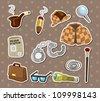 Cartoon detective equipment stickers - stock