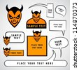 Cartoon devil heads with blank signs and speech bubbles. - stock vector