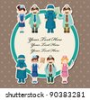 cartoon doctor and nurse card - stock vector
