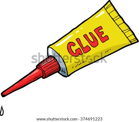 Cartoon doodle yellow tube of glue vector illustration