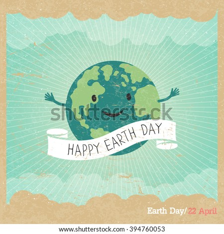 "Cartoon Earth Illustration. Planet smile and hold banner with ""Save Me"" words. Vintage Earth Day Poster. Rays, clouds, sky. Text on white ribbon. On old paper texture. Grunge layers easily edited."