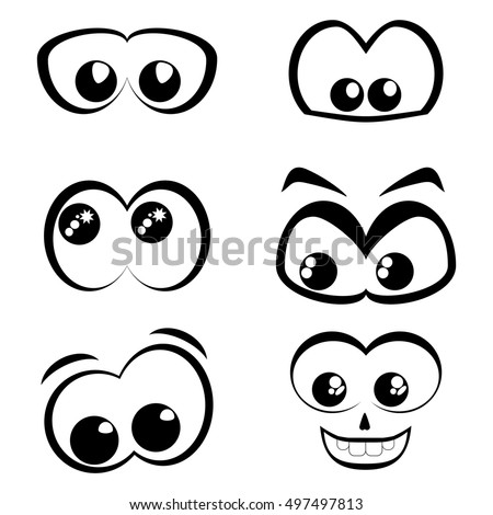Cartoon eyes. Black and white set. Vector icon.