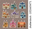 cartoon Fairy tale castle stickers - stock vector
