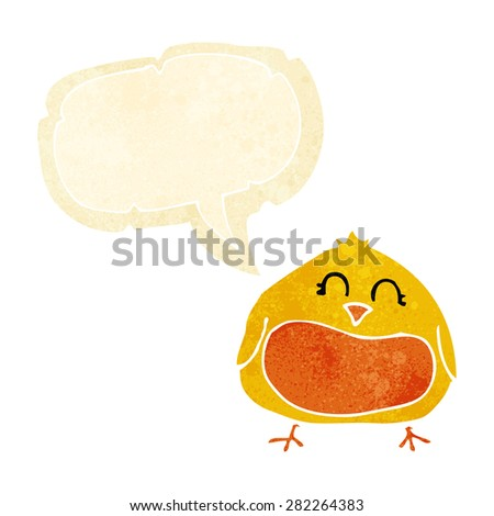 cartoon fat bird with speech bubble