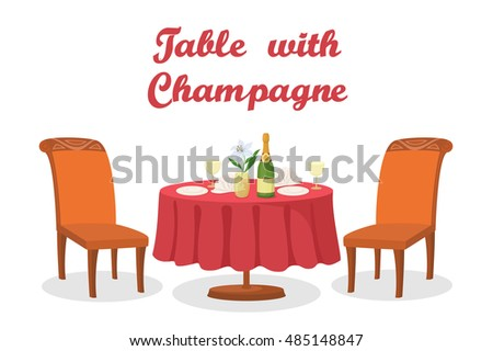 Cartoon Festive Served Holiday Table with Bottle of Champagne Wine, Flower, Napkins, Glasses, Plates, Two Chairs, Isolated on White Background. Eps10, Contains Transparencies. Vector