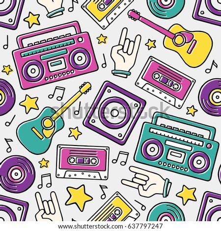 Funky Colorful Drawn Boombox Stock Vector 537716500 ...