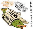 Cartoon fish wrapped in newspaper in different colors. - stock vector