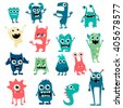 Cartoon flat monsters big set icons. Colorful kids toy cute monster. Vector EPS10  - stock vector
