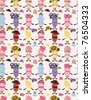 cartoon flower fairy seamless pattern - stock vector