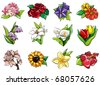 cartoon flower icon - stock vector