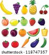 Cartoon fruits and vegetables - stock vector