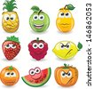 Cartoon fruits with emotions  - stock photo